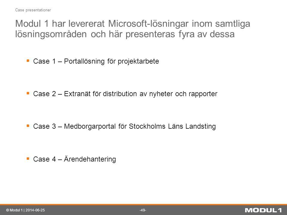 -49-© Modul 1 | 2014-06-25 Case presentationer Modul 1 har levererat Microsoft-lösningar inom samtliga lösningsområden och här presenteras fyra av des