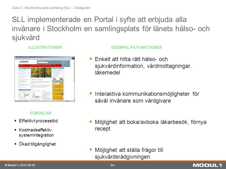 -54-© Modul 1 | 2014-06-25 Case 3 - Stockholms Läns Landsting (SLL) - Vårdguiden SLL implementerade en Portal i syfte att erbjuda alla invånare i Stoc