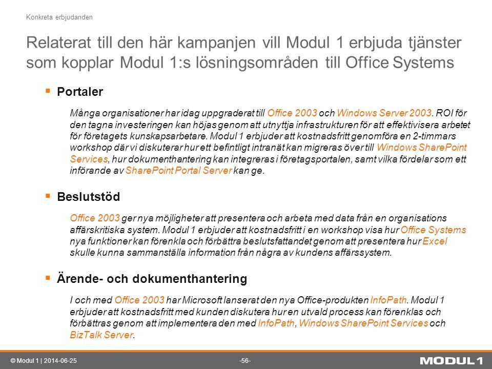 -56-© Modul 1 | 2014-06-25 Konkreta erbjudanden Relaterat till den här kampanjen vill Modul 1 erbjuda tjänster som kopplar Modul 1:s lösningsområden t