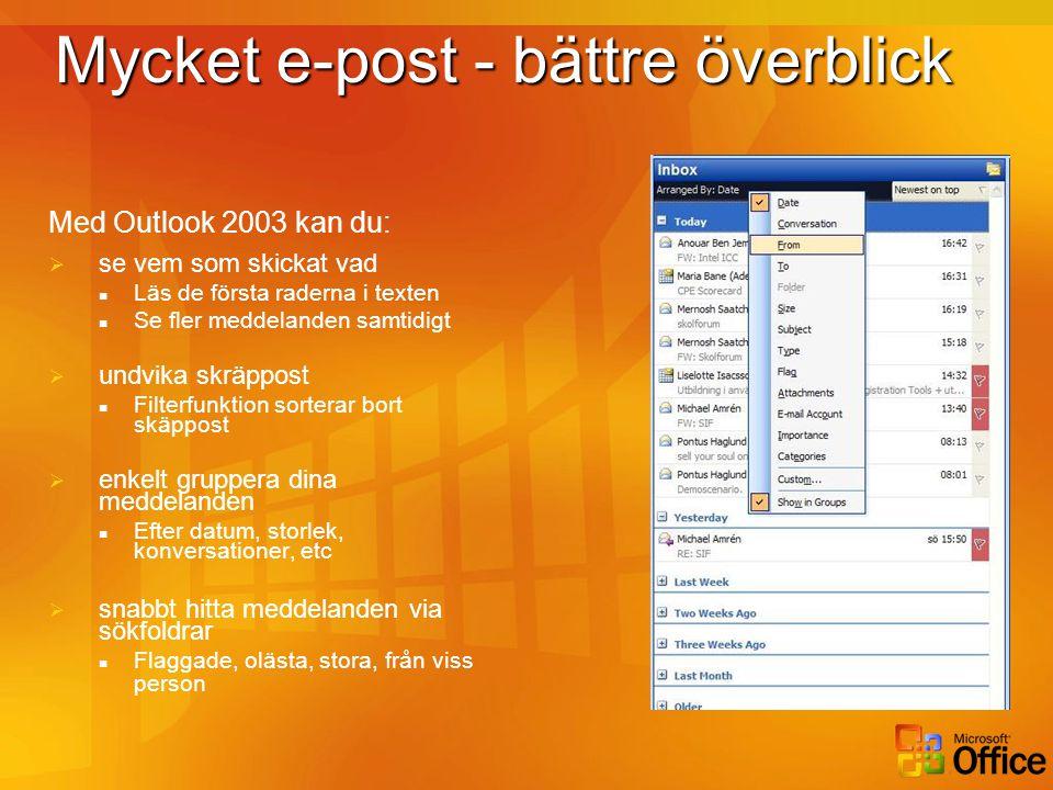 Mycket e-post – mer mobil Med Outlook 2003 kan du:  enkelt arbeta mobilt  Uppkopplingshastighet känns av automatiskt  En kopia av inkorgen är alltid synkroniserad  Outlook Web Access gränssnitt förbättrat, med bl a rättstavning  Outlook Mobile Access låter dig komma åt e-post från mobiltelefonen  Krävs inget VPN mellan Outlook och Exchange via Internet (Outlook över Internet)
