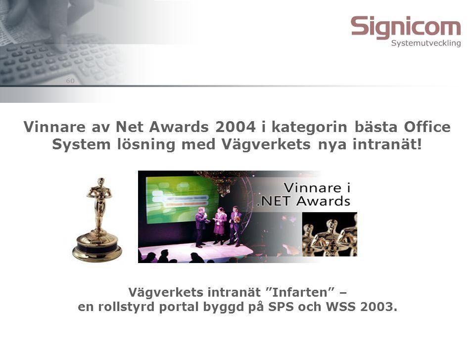 """60 Vinnare av Net Awards 2004 i kategorin bästa Office System lösning med Vägverkets nya intranät! Vägverkets intranät """"Infarten"""" – en rollstyrd porta"""