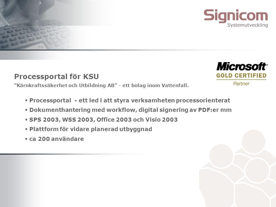 """64 Processportal för KSU """"Kärnkraftssäkerhet och Utbildning AB"""" - ett bolag inom Vattenfall.  Processportal - ett led i att styra verksamheten proces"""
