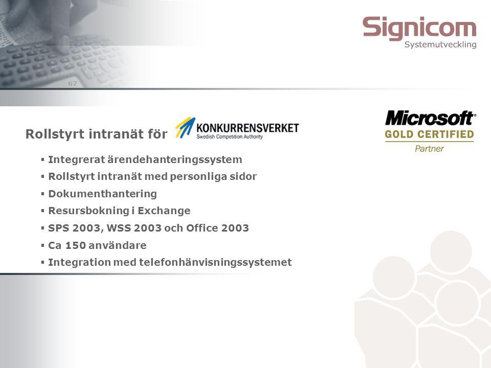 67 Rollstyrt intranät för  Integrerat ärendehanteringssystem  Rollstyrt intranät med personliga sidor  Dokumenthantering  Resursbokning i Exchange