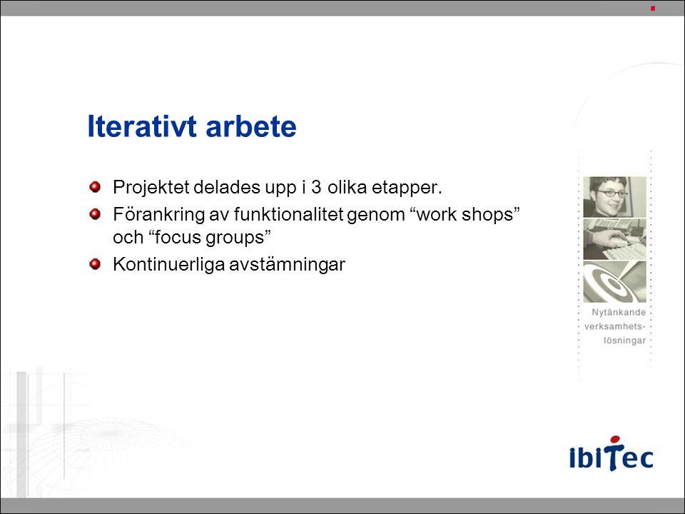 """Iterativt arbete Projektet delades upp i 3 olika etapper. Förankring av funktionalitet genom """"work shops"""" och """"focus groups"""" Kontinuerliga avstämninga"""