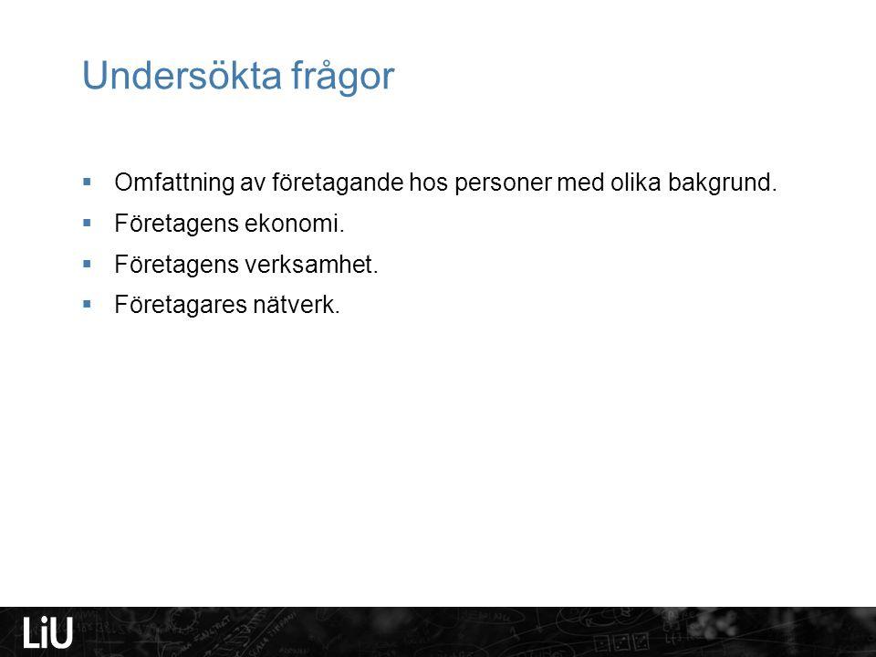 Omfattning av företagande hos personer med olika bakgrund Svensk bakgrundUtländsk bakgrund, 1:a generationen.