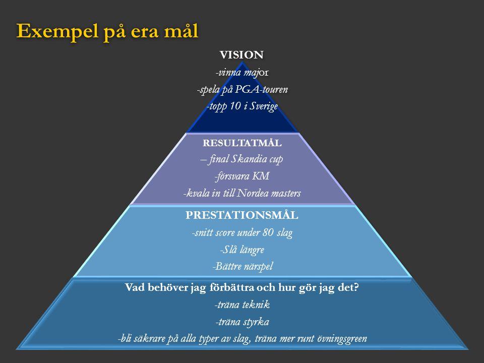 Exempel på era mål VISION -vinna major -spela på PGA-touren -topp 10 i Sverige RESULTATMÅL – final Skandia cup -försvara KM -kvala in till Nordea mast