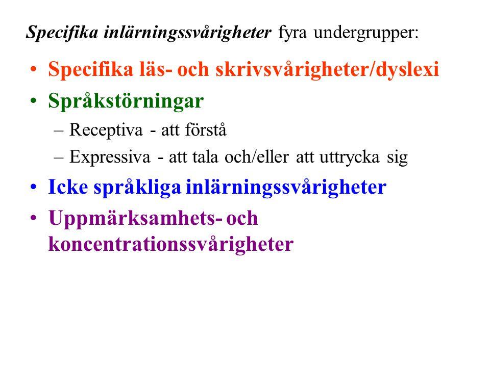 Specifika inlärningssvårigheter fyra undergrupper: •Specifika läs- och skrivsvårigheter/dyslexi •Språkstörningar –Receptiva - att förstå –Expressiva -