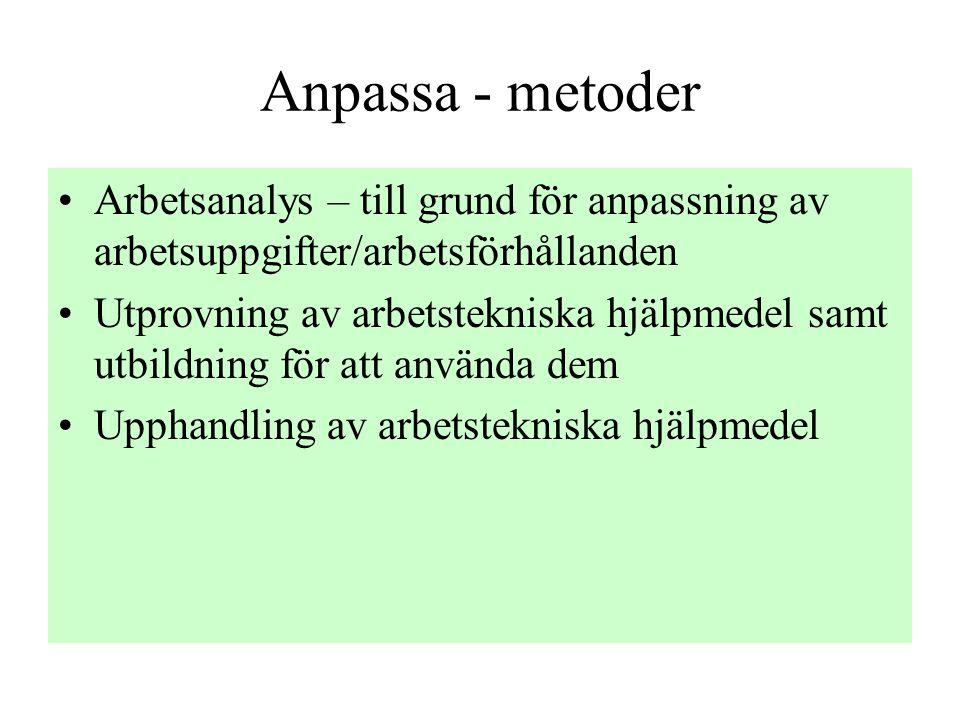 Anpassa - metoder •Arbetsanalys – till grund för anpassning av arbetsuppgifter/arbetsförhållanden •Utprovning av arbetstekniska hjälpmedel samt utbildning för att använda dem •Upphandling av arbetstekniska hjälpmedel