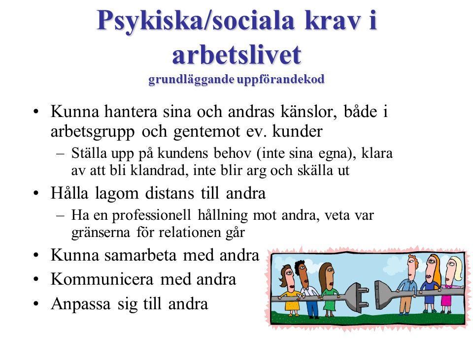 Psykiska/sociala krav i arbetslivet grundläggande uppförandekod •Kunna hantera sina och andras känslor, både i arbetsgrupp och gentemot ev. kunder –St
