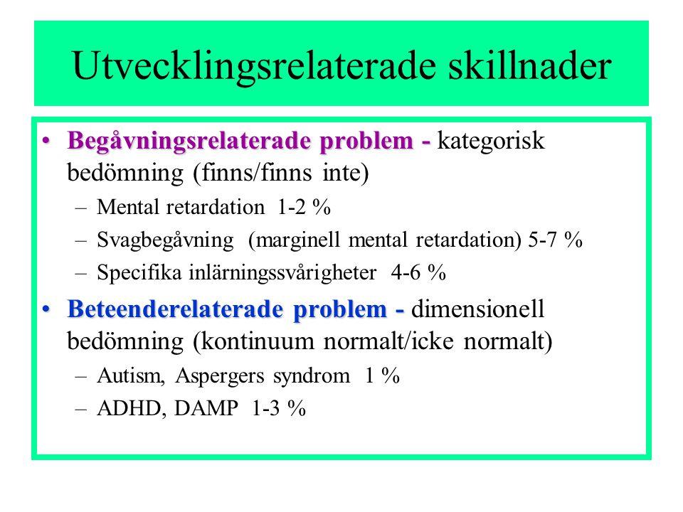 Utvecklingsrelaterade skillnader •Begåvningsrelaterade problem - •Begåvningsrelaterade problem - kategorisk bedömning (finns/finns inte) –Mental retardation 1-2 % –Svagbegåvning (marginell mental retardation) 5-7 % –Specifika inlärningssvårigheter 4-6 % •Beteenderelaterade problem - •Beteenderelaterade problem - dimensionell bedömning (kontinuum normalt/icke normalt) –Autism, Aspergers syndrom 1 % –ADHD, DAMP 1-3 %