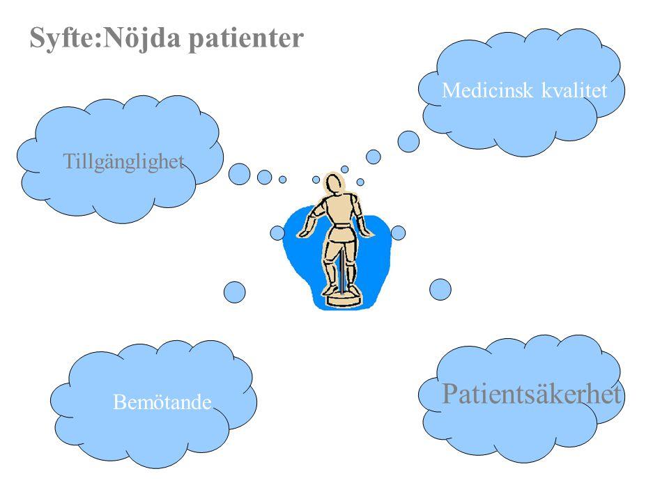 Tillgänglighet Medicinsk kvalitet Bemötande Patientsäkerhet Syfte:Nöjda patienter