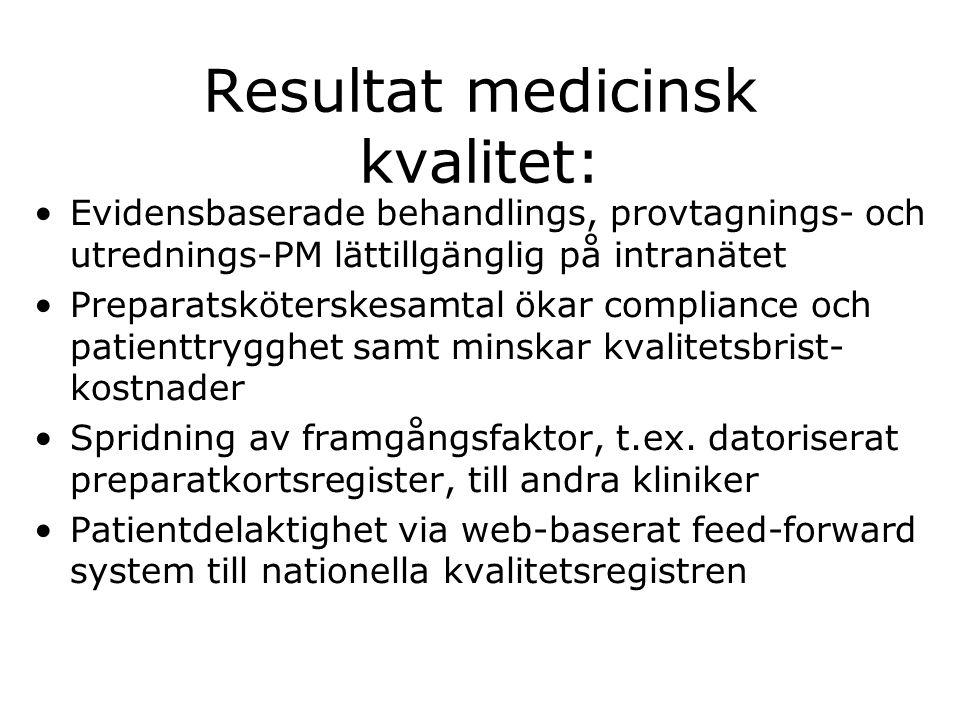 Resultat medicinsk kvalitet: •Evidensbaserade behandlings, provtagnings- och utrednings-PM lättillgänglig på intranätet •Preparatsköterskesamtal ökar