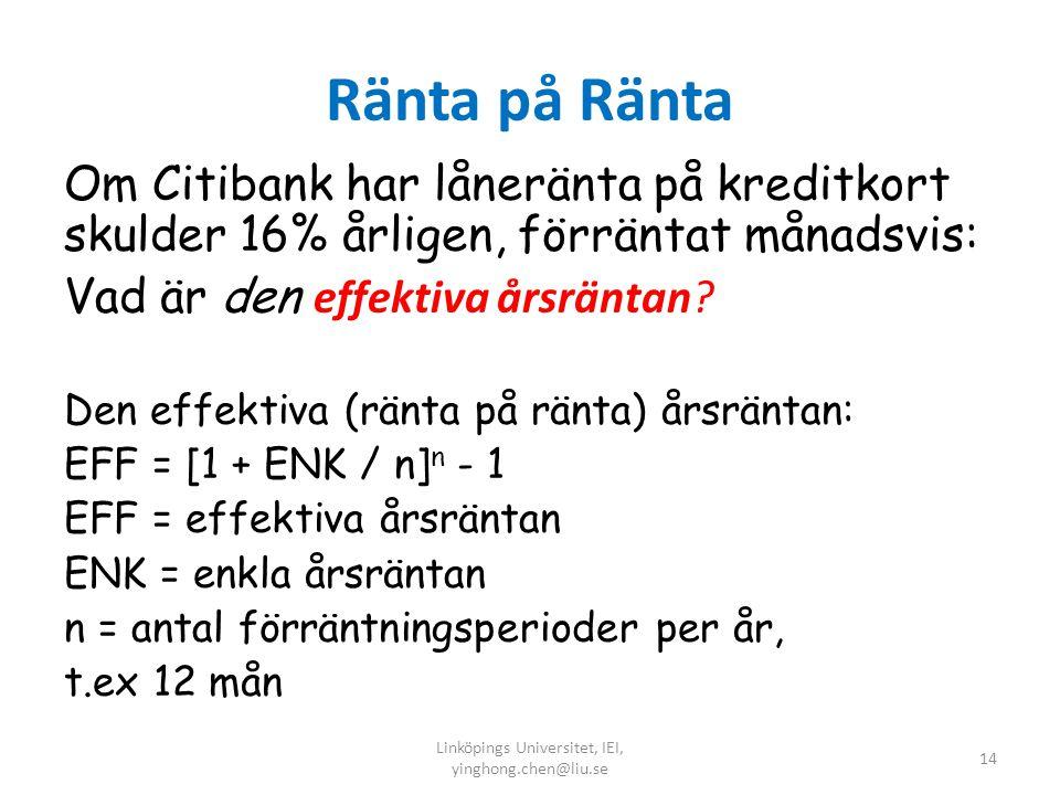 Ränta på Ränta Om Citibank har låneränta på kreditkort skulder 16% årligen, förräntat månadsvis: Vad är den effektiva årsräntan? Den effektiva (ränta