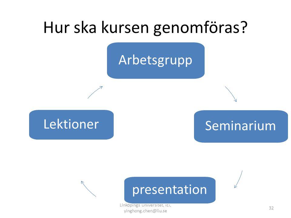 Hur ska kursen genomföras? Linköpings Universitet, IEI, yinghong.chen@liu.se 32 Arbetsgrupp Seminarium presentation Lektioner