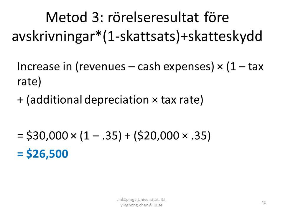 Metod 3: rörelseresultat före avskrivningar*(1-skattsats)+skatteskydd Increase in (revenues – cash expenses) × (1 – tax rate) + (additional depreciati