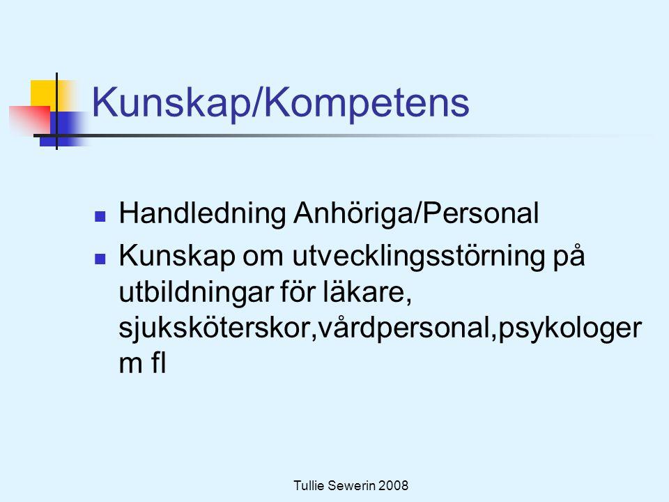Tullie Sewerin 2008 Kunskap/Kompetens  Handledning Anhöriga/Personal  Kunskap om utvecklingsstörning på utbildningar för läkare, sjuksköterskor,vård