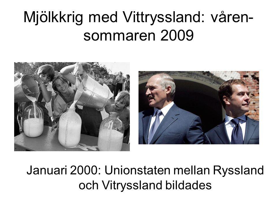 Mjölkkrig med Vittryssland: våren- sommaren 2009 Januari 2000: Unionstaten mellan Ryssland och Vitryssland bildades