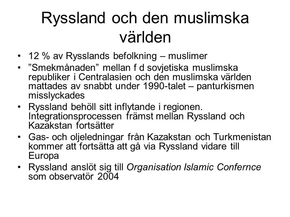 Ryssland och den muslimska världen •12 % av Rysslands befolkning – muslimer • Smekmånaden mellan f d sovjetiska muslimska republiker i Centralasien och den muslimska världen mattades av snabbt under 1990-talet – panturkismen misslyckades •Ryssland behöll sitt inflytande i regionen.