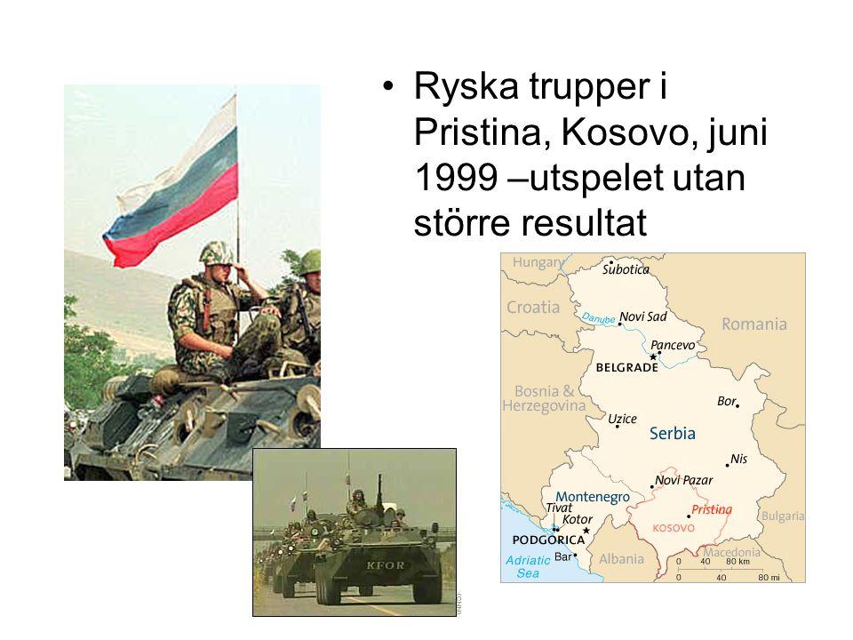 Konfliktens resultat: •Ryssland erkände Sydossetiens och Abchaziens självständighet och etablerade sina militärbaser i dessa republiker •Relationerna med NATO och EU försämrades kraftigt, främst p g a USA:s hårda ställning •Den globala finansiella krisen gjorde dock konflikten mindre viktig för fortsatta relationer mellan Ryssland, NATO och EU