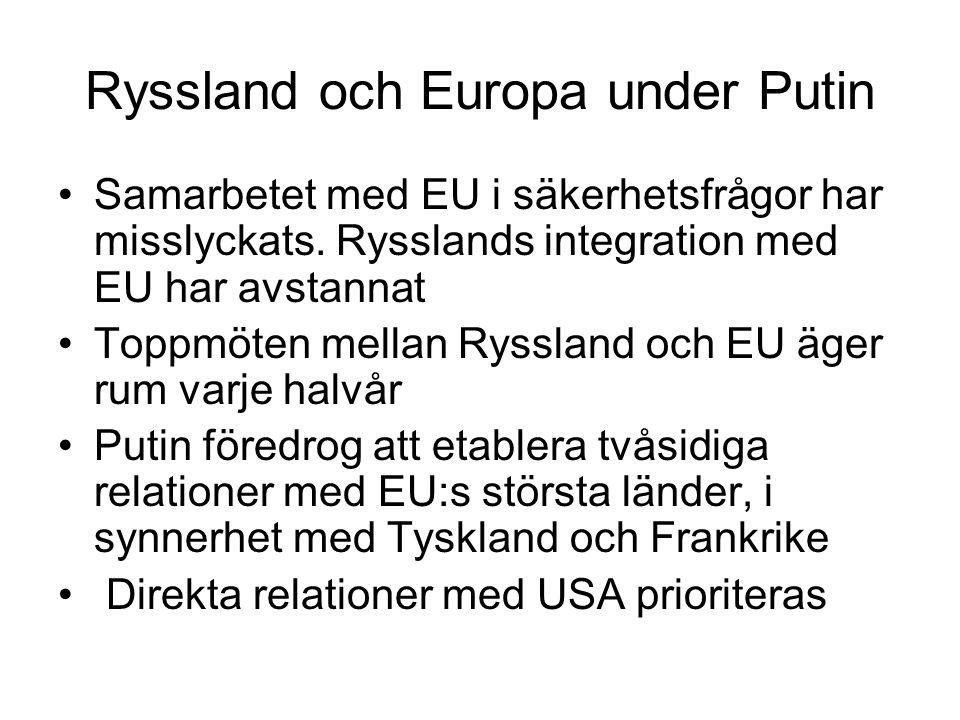 Ryssland och Europa under Putin •Samarbetet med EU i säkerhetsfrågor har misslyckats.