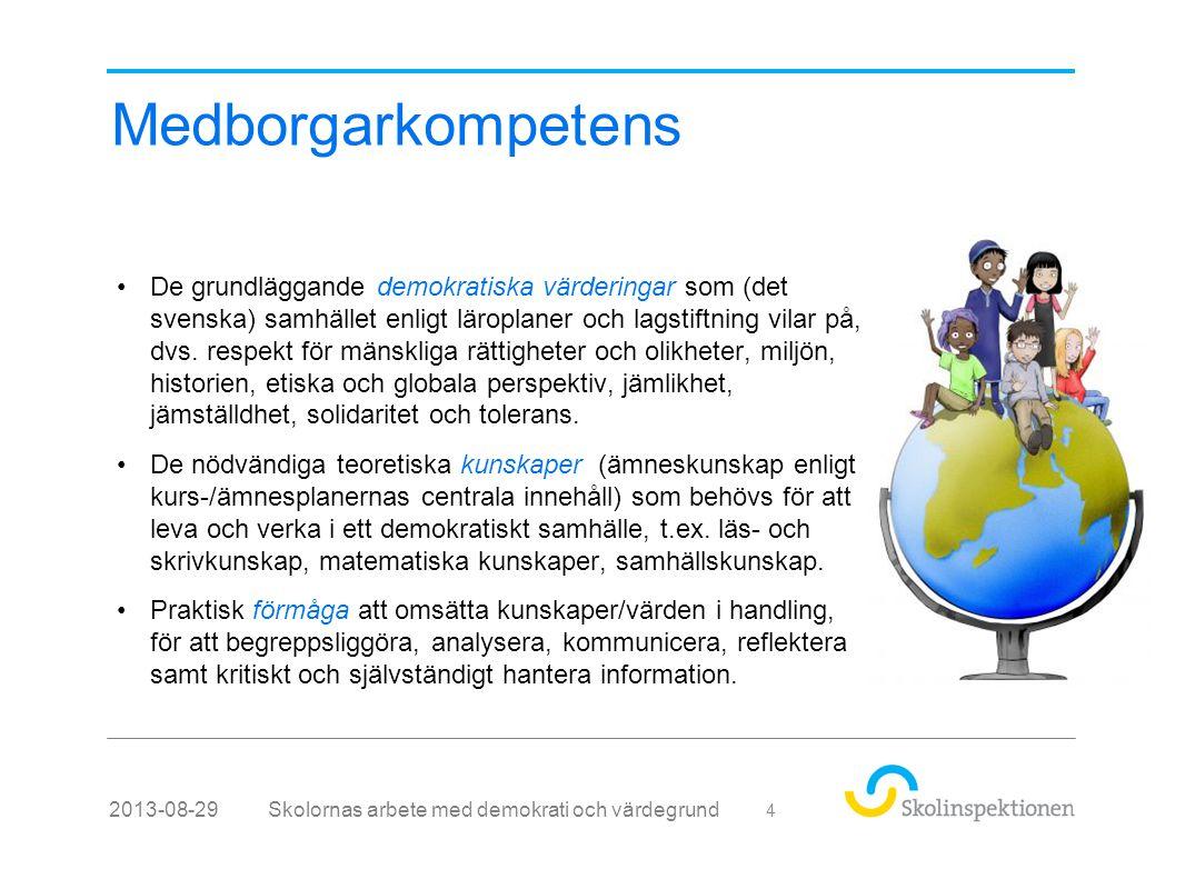 Medborgarkompetens Skolornas arbete med demokrati och värdegrund2013-08-29 4 •De grundläggande demokratiska värderingar som (det svenska) samhället enligt läroplaner och lagstiftning vilar på, dvs.
