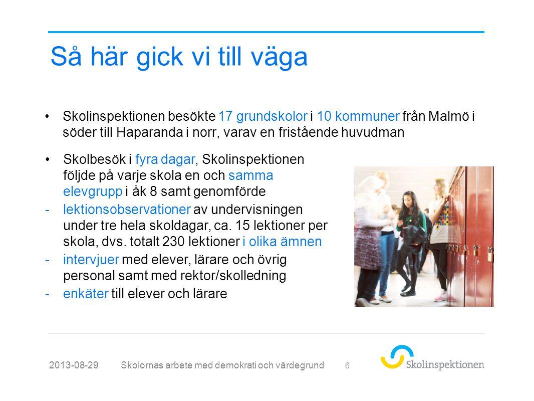 Så här gick vi till väga •Skolinspektionen besökte 17 grundskolor i 10 kommuner från Malmö i söder till Haparanda i norr, varav en fristående huvudman Skolornas arbete med demokrati och värdegrund2013-08-29 6 •Skolbesök i fyra dagar, Skolinspektionen följde på varje skola en och samma elevgrupp i åk 8 samt genomförde -lektionsobservationer av undervisningen under tre hela skoldagar, ca.