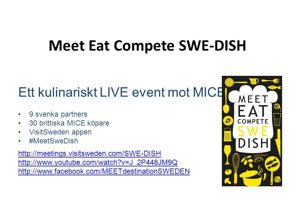 Meet Eat Compete SWE-DISH Ett kulinariskt LIVE event mot MICE •9 svenka partners •30 brittiska MICE köpare •VisitSweden appen •#MeetSweDish http://mee