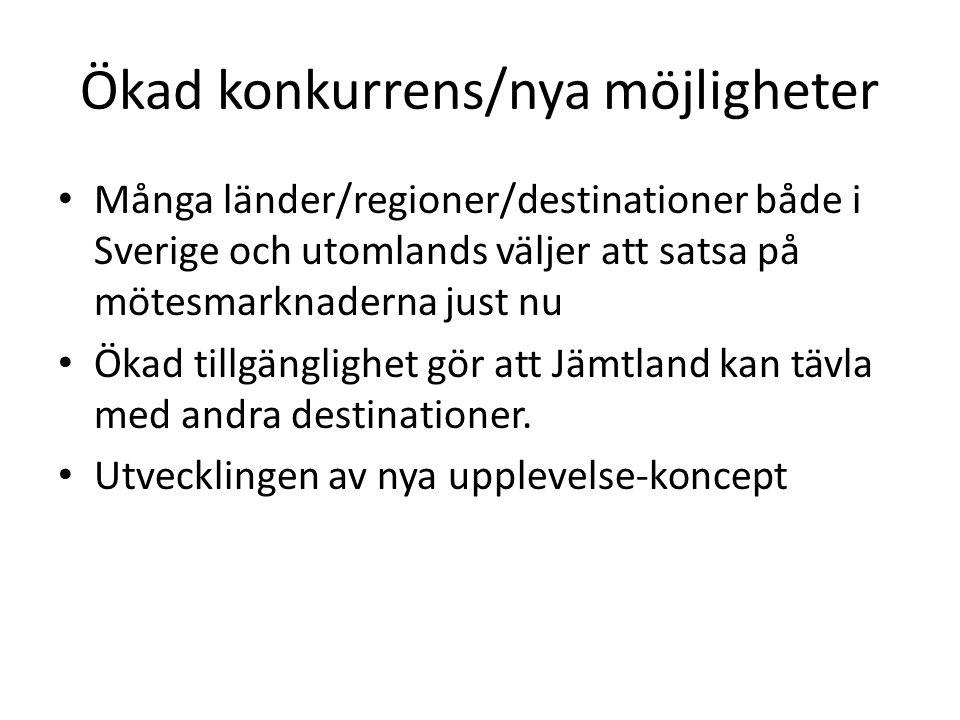 Ökad konkurrens/nya möjligheter • Många länder/regioner/destinationer både i Sverige och utomlands väljer att satsa på mötesmarknaderna just nu • Ökad