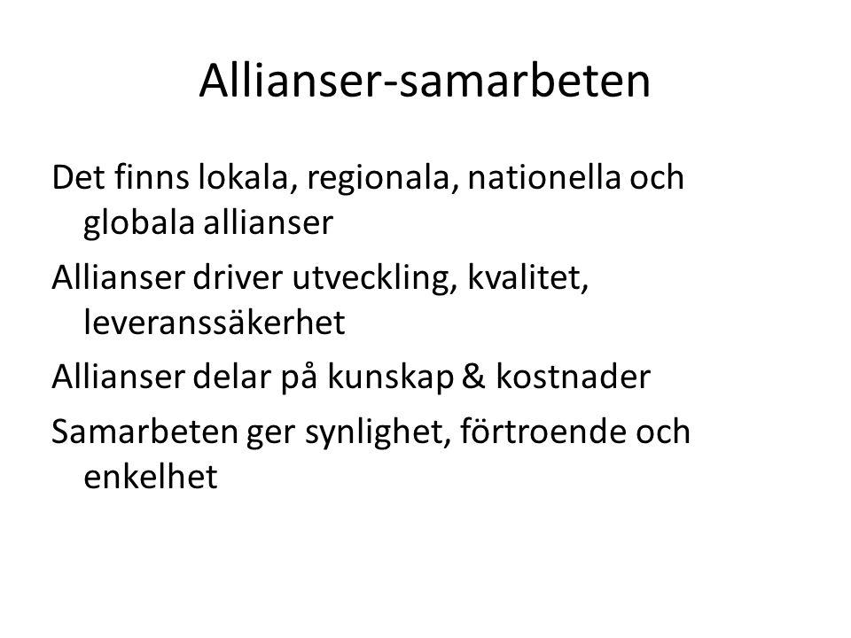 Allianser-samarbeten Det finns lokala, regionala, nationella och globala allianser Allianser driver utveckling, kvalitet, leveranssäkerhet Allianser d