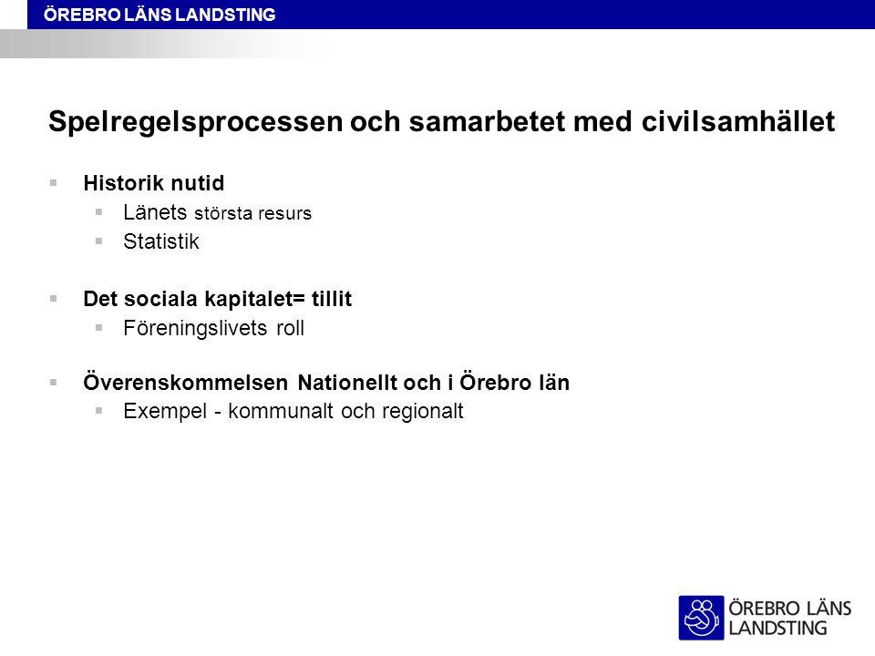 ÖREBRO LÄNS LANDSTING Spelregelsprocessen och samarbetet med civilsamhället  Nuläge  Stormöte 2011 04 28, referensgrupp utsågs.