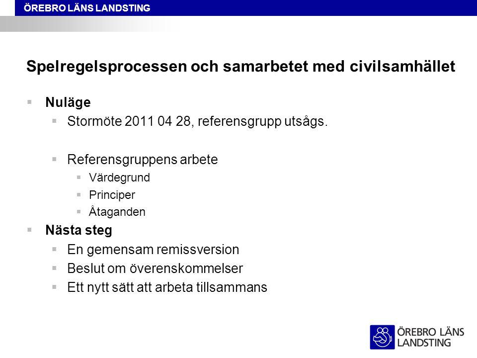 ÖREBRO LÄNS LANDSTING Spelregelsprocessen och samarbetet med civilsamhället  Nuläge  Stormöte 2011 04 28, referensgrupp utsågs.  Referensgruppens a