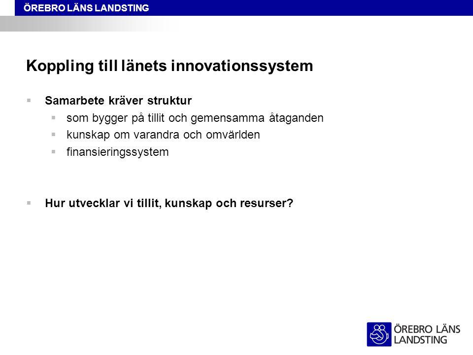 ÖREBRO LÄNS LANDSTING Koppling till länets innovationssystem  Samarbete kräver struktur  som bygger på tillit och gemensamma åtaganden  kunskap om