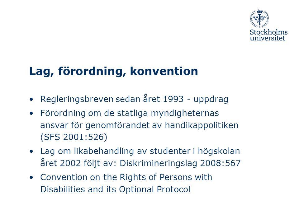 Lag, förordning, konvention •Regleringsbreven sedan året 1993 - uppdrag •Förordning om de statliga myndigheternas ansvar för genomförandet av handikap