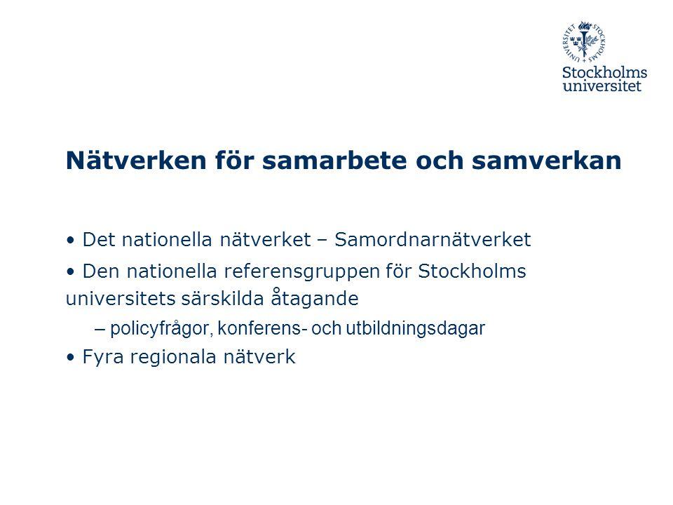 Nätverken för samarbete och samverkan • Det nationella nätverket – Samordnarnätverket • Den nationella referensgruppen för Stockholms universitets sär