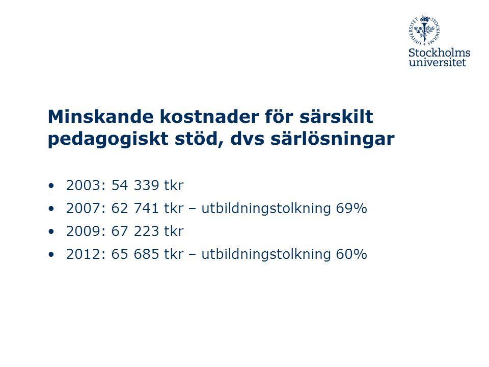 Minskande kostnader för särskilt pedagogiskt stöd, dvs särlösningar •2003: 54 339 tkr •2007: 62 741 tkr – utbildningstolkning 69% •2009: 67 223 tkr •2