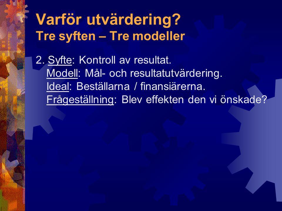 Varför utvärdering.Tre syften – Tre modeller 3.