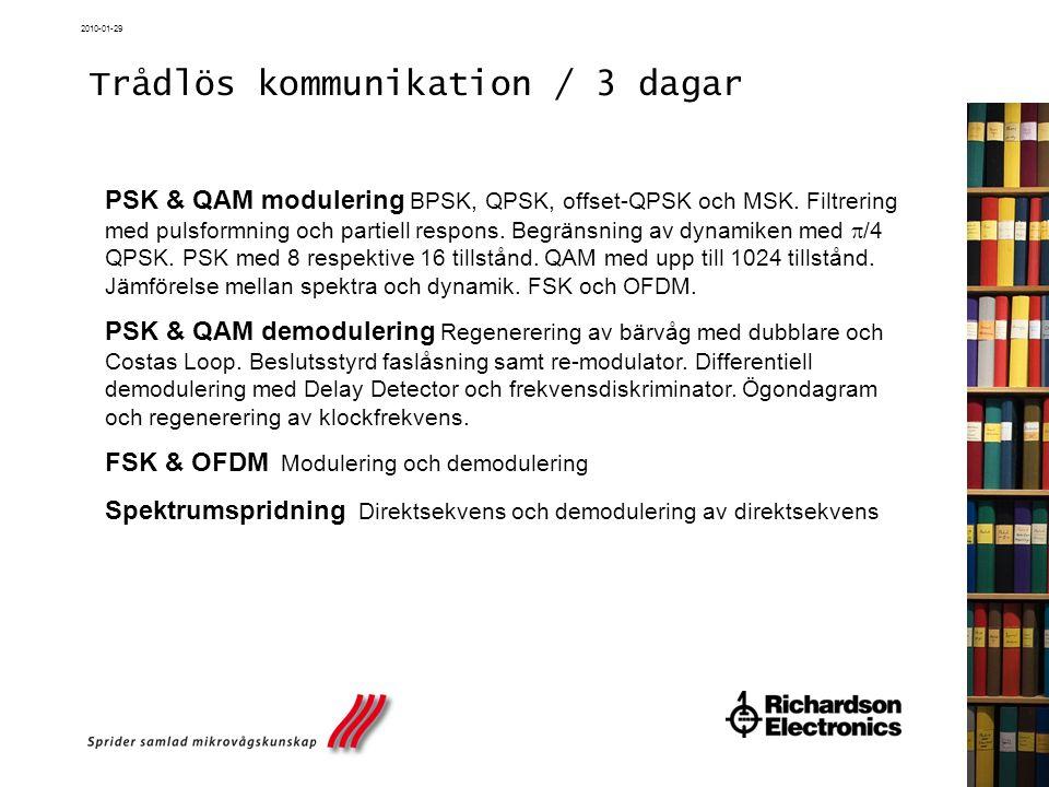 2010-01-29 Trådlös kommunikation / 3 dagar PSK & QAM modulering BPSK, QPSK, offset-QPSK och MSK. Filtrering med pulsformning och partiell respons. Beg