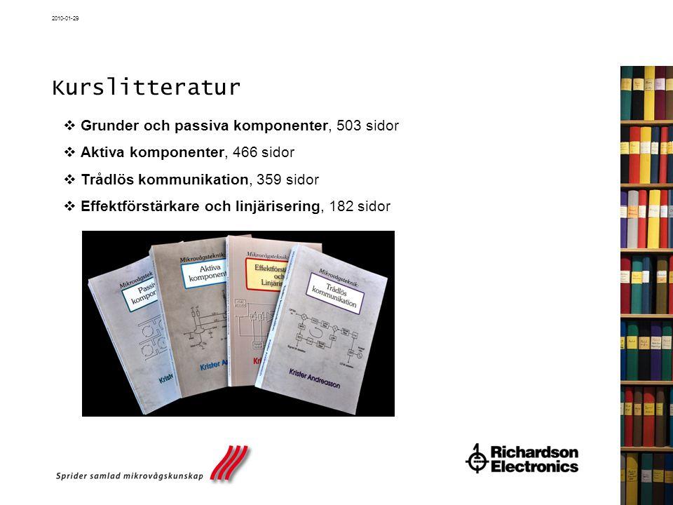 2010-01-29 Kurslitteratur  Grunder och passiva komponenter, 503 sidor  Aktiva komponenter, 466 sidor  Trådlös kommunikation, 359 sidor  Effektförs