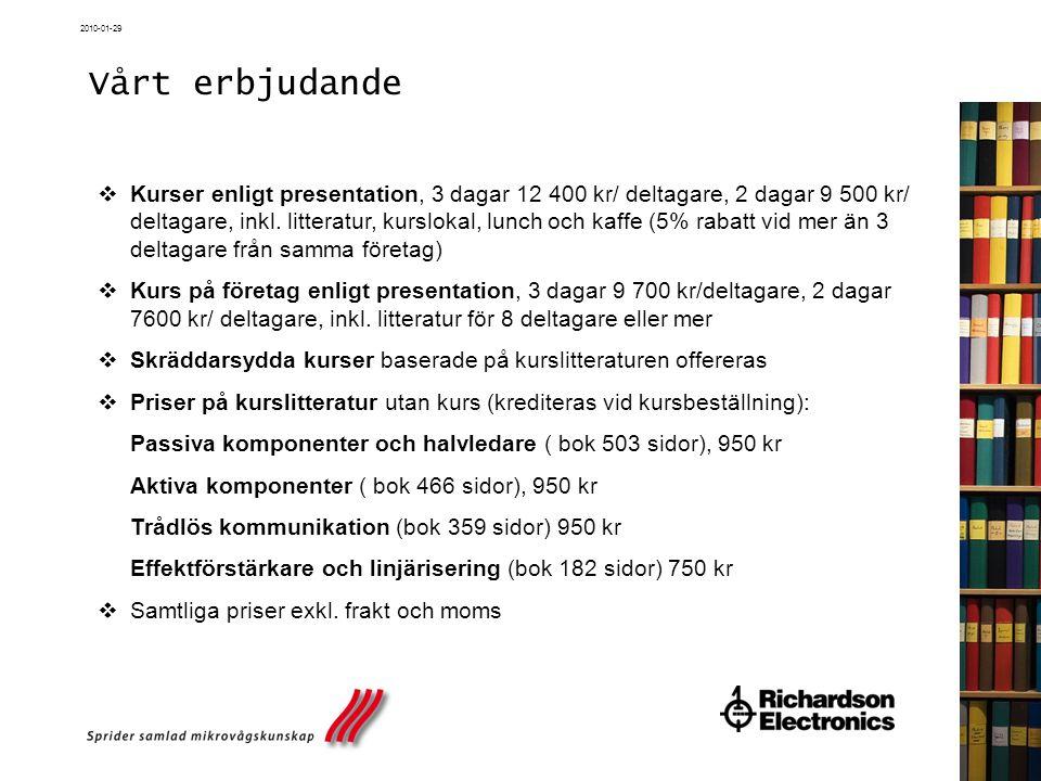 2010-01-29 Vårt erbjudande  Kurser enligt presentation, 3 dagar 12 400 kr/ deltagare, 2 dagar 9 500 kr/ deltagare, inkl. litteratur, kurslokal, lunch