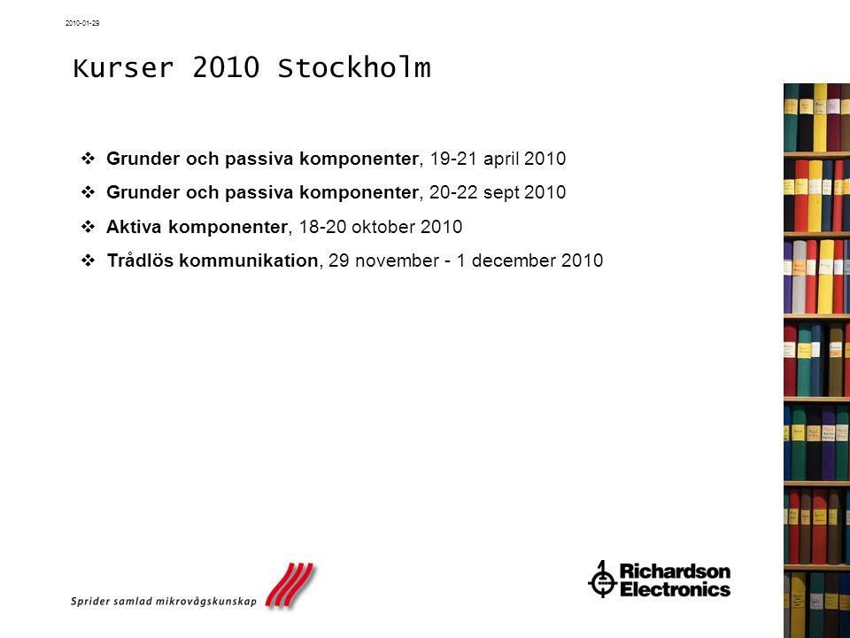 2010-01-29 Kurser 2010 Stockholm  Grunder och passiva komponenter, 19-21 april 2010  Grunder och passiva komponenter, 20-22 sept 2010  Aktiva kompo