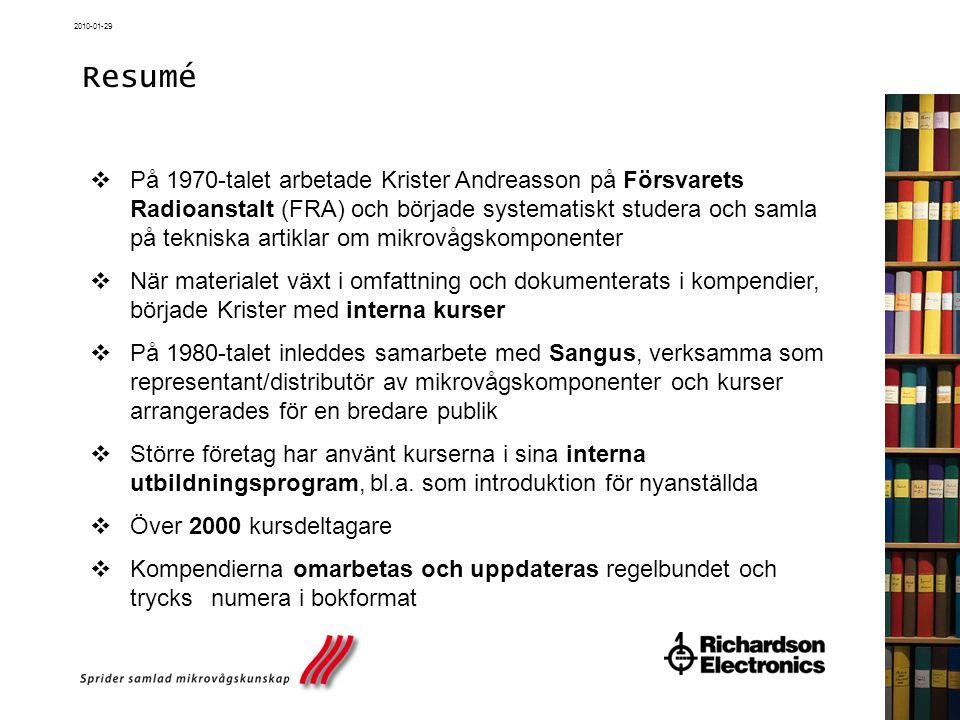 2010-01-29 Kurser 2010 Stockholm  Grunder och passiva komponenter, 19-21 april 2010  Grunder och passiva komponenter, 20-22 sept 2010  Aktiva komponenter, 18-20 oktober 2010  Trådlös kommunikation, 29 november - 1 december 2010