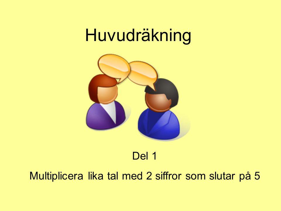 Jag vill visa dig ett sätt som gör att du snabbt kan multiplicera tvåsiffriga lika tal som slutar på 5 Å du, hur är det med multiplikationstabellen.