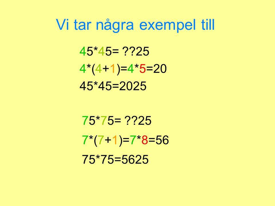 Vi tar några exempel till 45*45= ??25 4*(4+1)=4*5=20 45*45=2025 75*75=5625 7*(7+1)=7*8=56 75*75= ??25