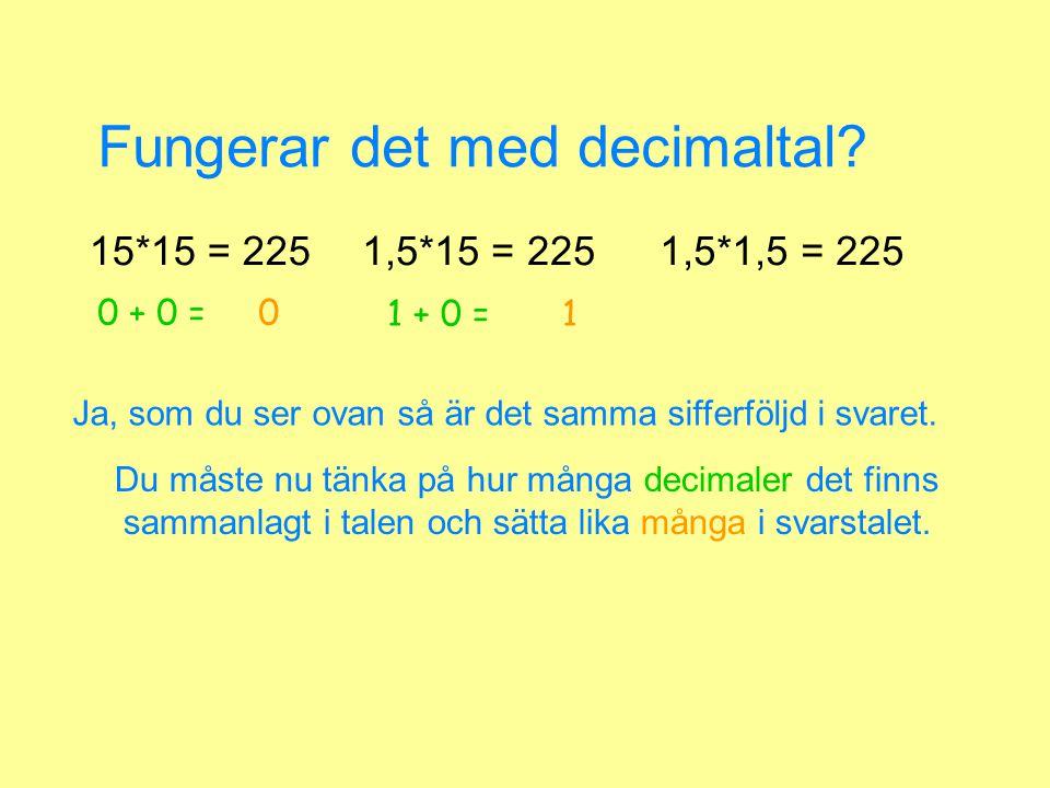 Fungerar det med decimaltal? 15*15 = 2251,5*15 = 2251,5*1,5 = 225 Du måste nu tänka på hur många decimaler det finns sammanlagt i talen och sätta lika