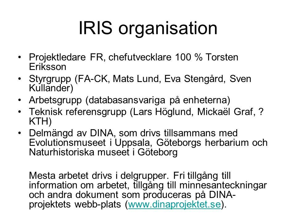 IRIS organisation •Projektledare FR, chefutvecklare 100 % Torsten Eriksson •Styrgrupp (FA-CK, Mats Lund, Eva Stengård, Sven Kullander) •Arbetsgrupp (d