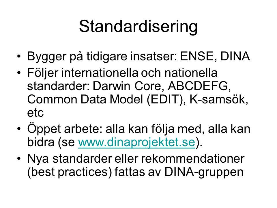 Standardisering •Bygger på tidigare insatser: ENSE, DINA •Följer internationella och nationella standarder: Darwin Core, ABCDEFG, Common Data Model (E