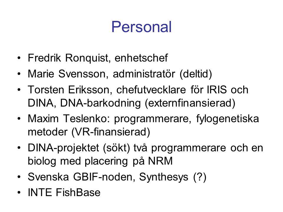 GBIFK-Samsök SQL-databaser med vissa gemensamma tabeller Specify Access FileMaker Webb-klienter Fjärrklienter (t ex amatörer) NRM