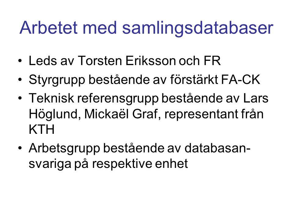 Arbetet med samlingsdatabaser •Leds av Torsten Eriksson och FR •Styrgrupp bestående av förstärkt FA-CK •Teknisk referensgrupp bestående av Lars Höglun