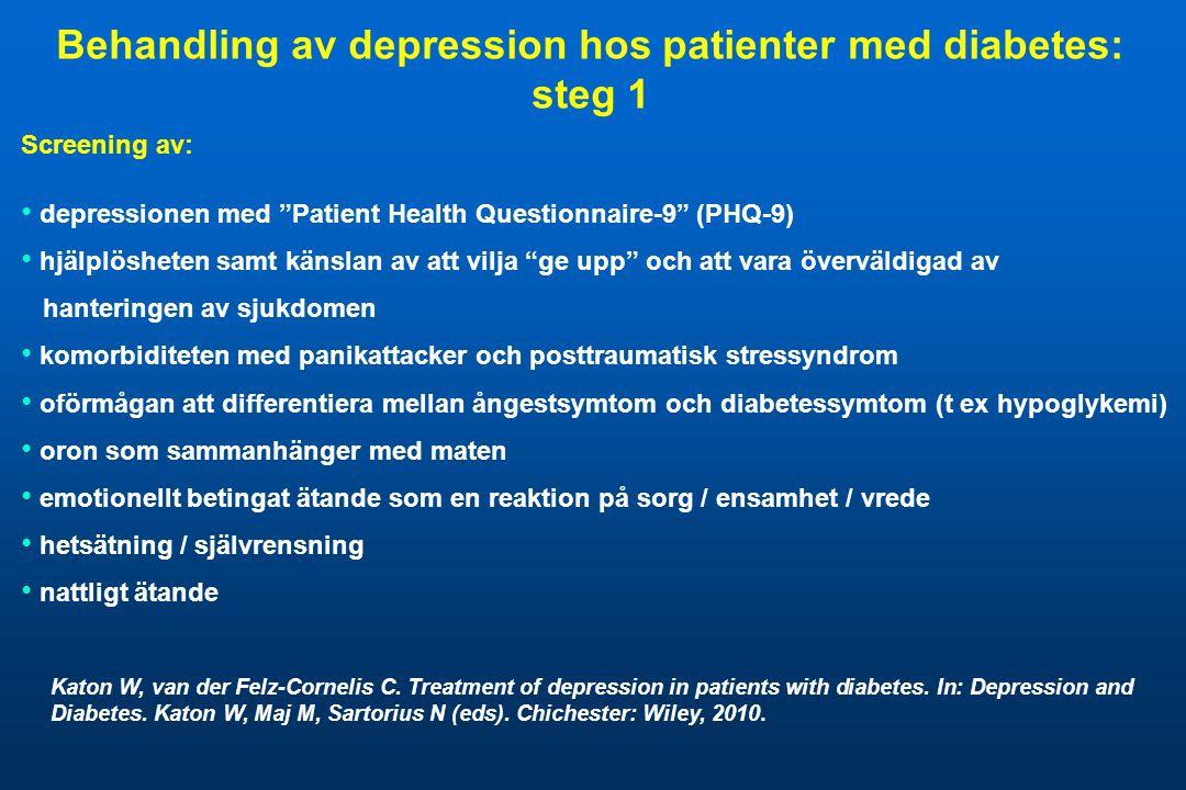 """Screening av: • depressionen med """"Patient Health Questionnaire-9"""" (PHQ-9) • hjälplösheten samt känslan av att vilja """"ge upp"""" och att vara överväldigad"""