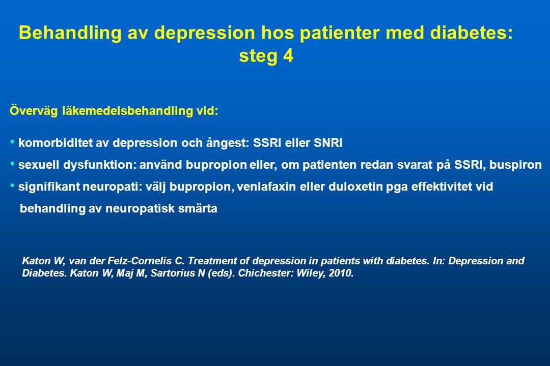 Överväg läkemedelsbehandling vid: • komorbiditet av depression och ångest: SSRI eller SNRI • sexuell dysfunktion: använd bupropion eller, om patienten